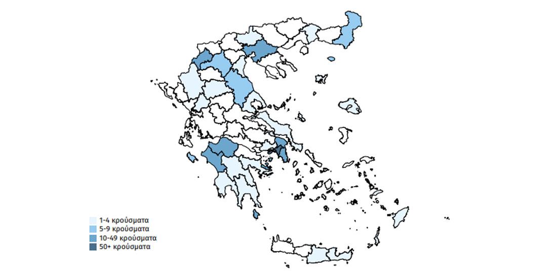 Ο χάρτης του κορωνοϊού στη χώρα