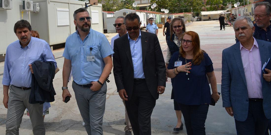 Επίσκεψη του Γεν. Διευθυντή του ΠΟΥ στη Δομή Φιλοξενίας Προσφύγων του Ελαιώνα